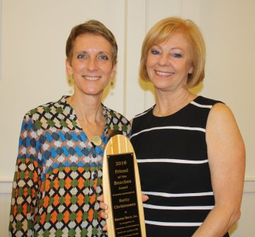 Pictured (l to r): Sandy Golding (Beaches Watch President) and Kathy Christensen